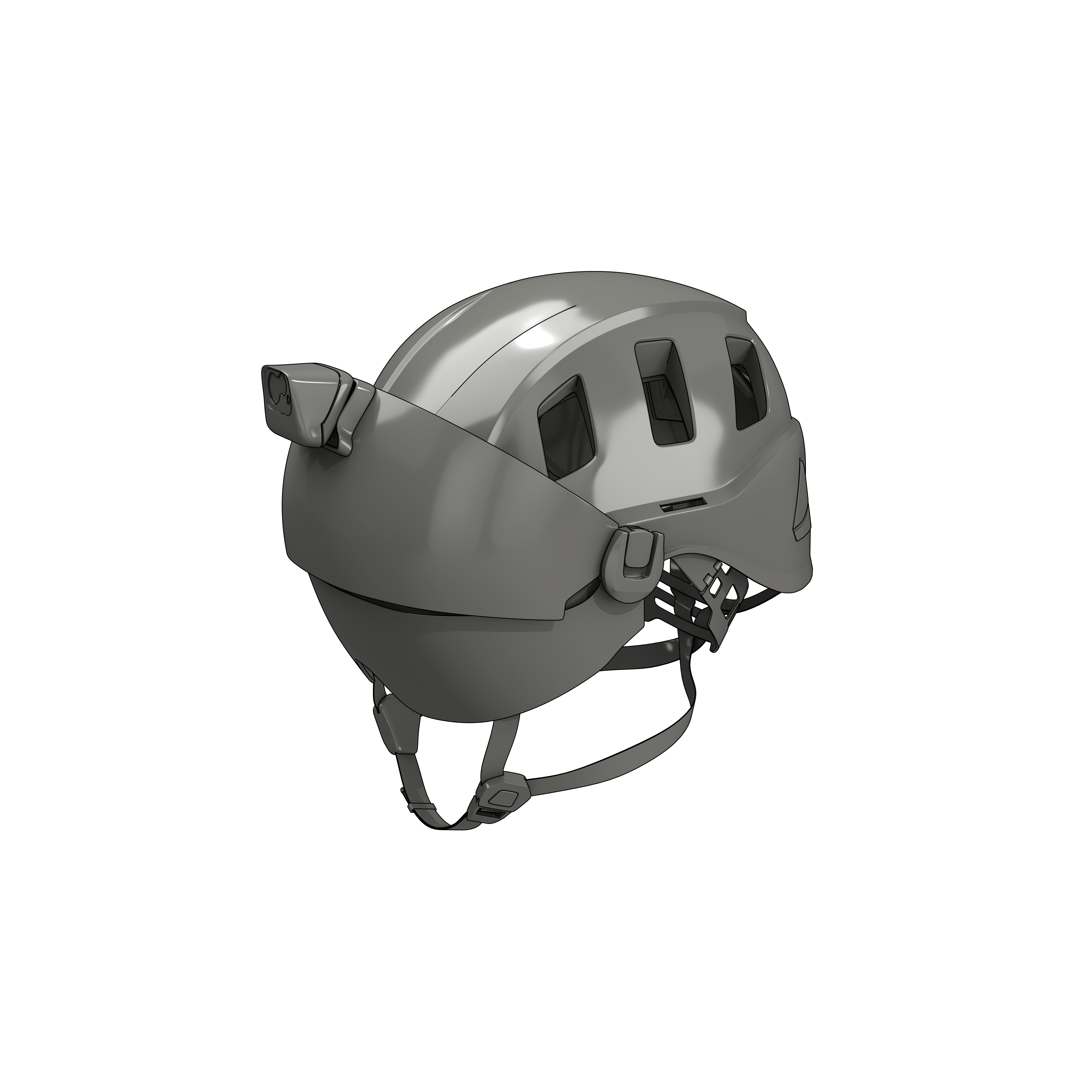 Helmet with Visor and Light