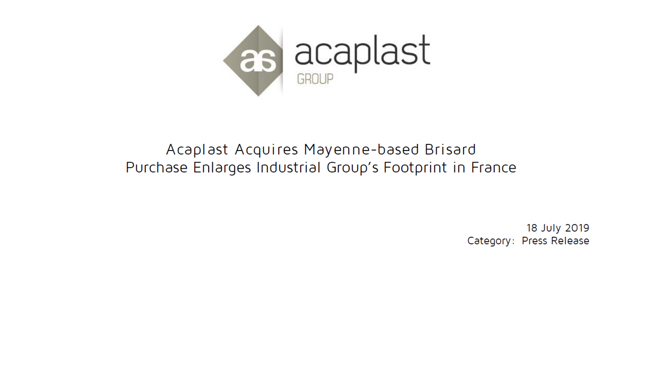 Acaplast Acquires Mayenne-based Brisard